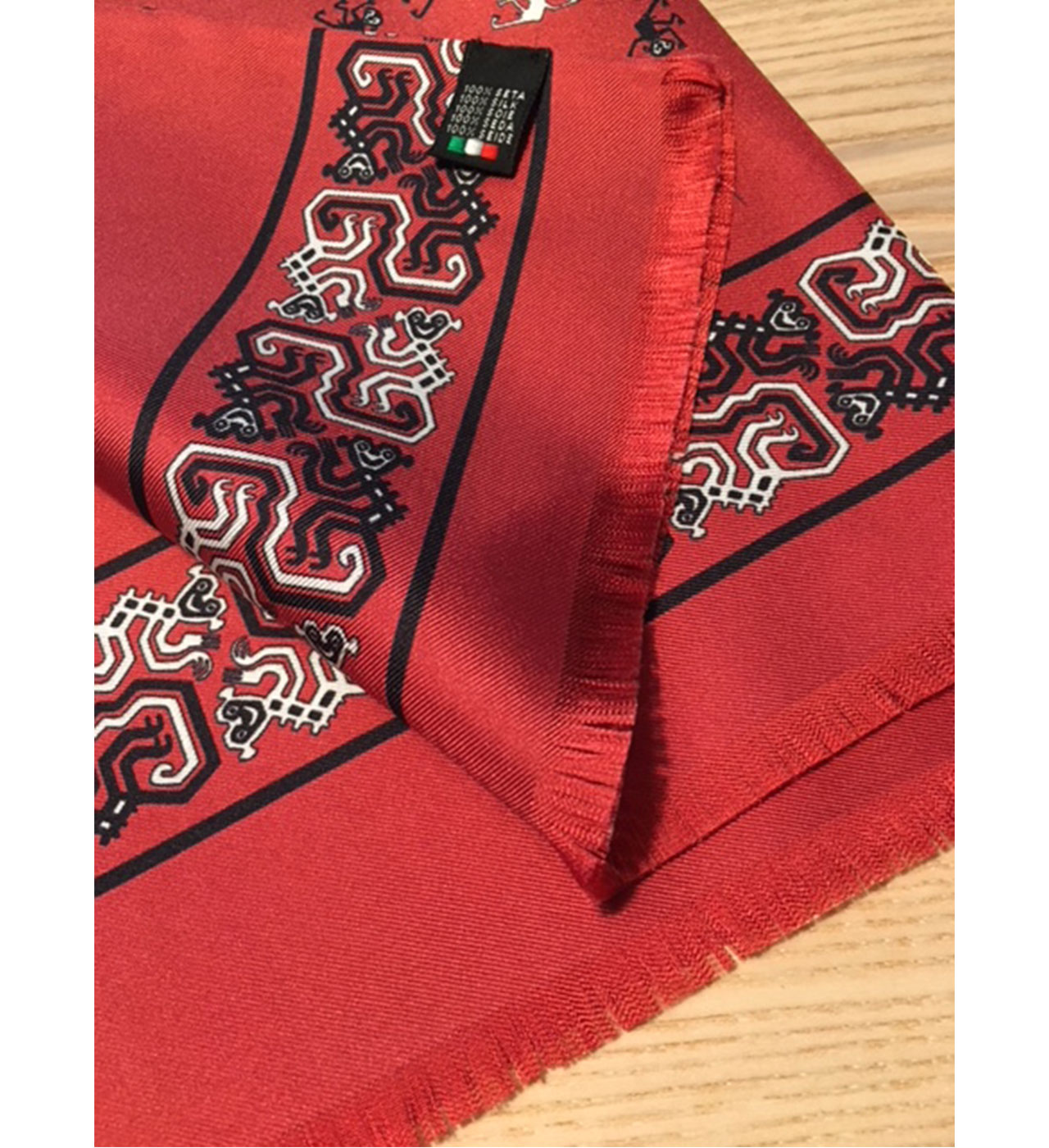 Green and red blended silk and wool patterned double sided scarf